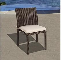 Andana 4 Piece Brown Synthetic Wicker Patio Chair Set with Off-White Cushions
