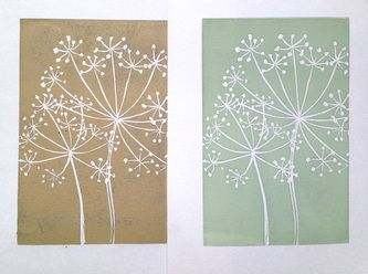 Fran Robinson,  Cow Parsley, Lino cut print