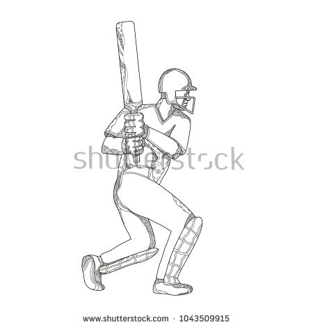Doodle art illustration of a cricket batsman batting viewed from side done in black and white mandala style.  #cricket #doodleart #illustration
