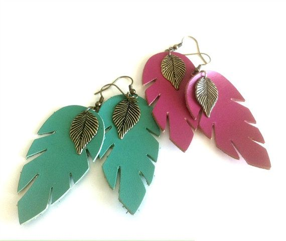 Leaf Feather Earrings by EridaneasBoutique on Etsy