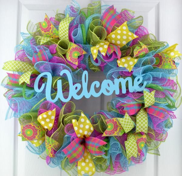This spring wreath will make a wonderful addition to your indoor or outdoor home decor or a thoughtful gift for that special person or a special occasion. Use it for spring decor, summer decor, as wreaths for front door or as a gift for a birthday, anniversary or Mothers Day! Made to order wreath with green, pink and blue mesh and accented with bright ribbons to showcase the adorable WELCOME in the center. Measures approximately 24 inches. Indoor and outdoor pieces but my wreaths do apprecia...