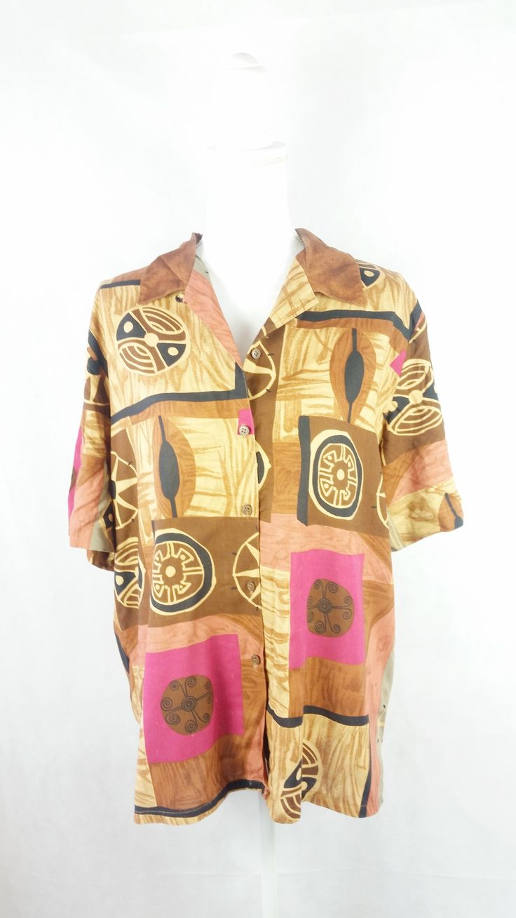 Vintage Earthy African Shirt Sz 16/XL