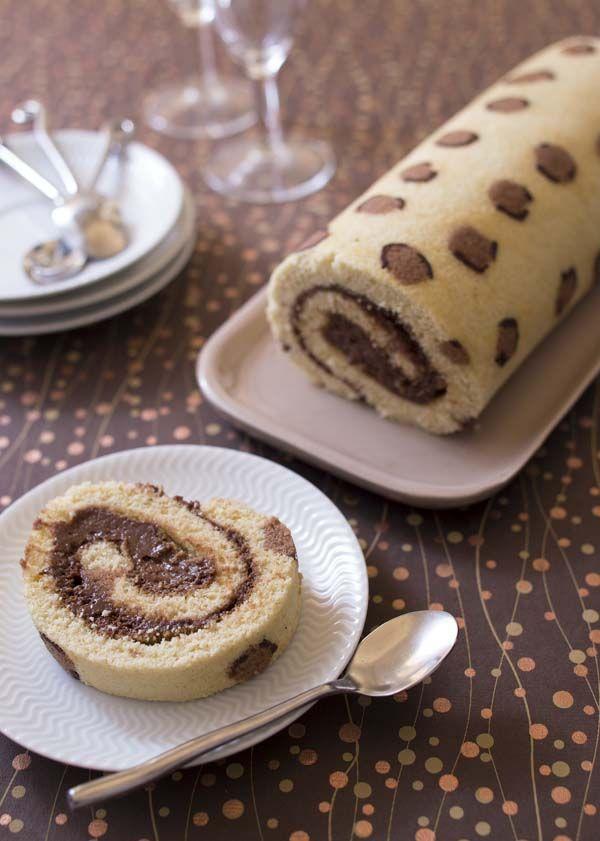Photo recette Gâteau roulé Léopard à la mousse au chocolat praliné