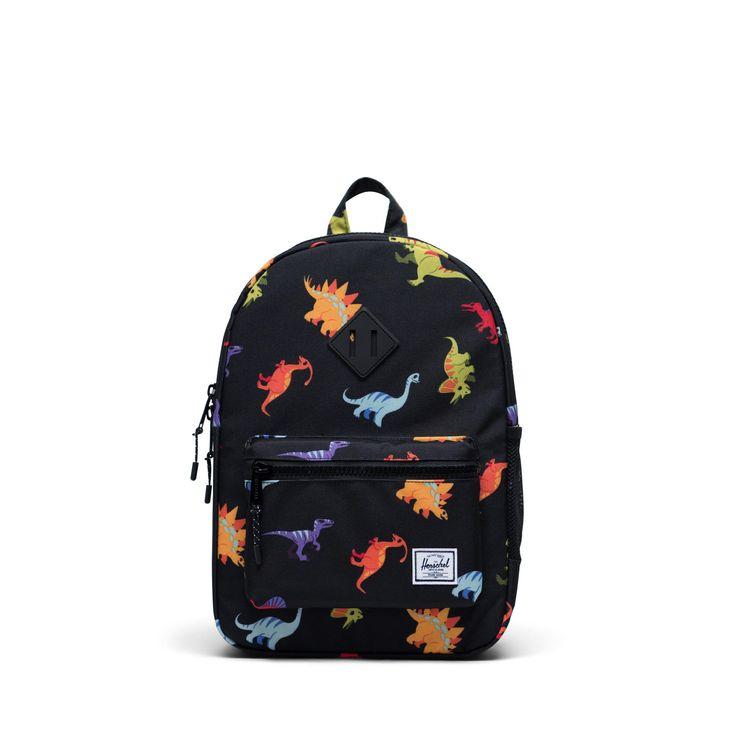 Buy Herschel Supply Co. Children's Heritage Youth Dinosaur Backpack, Black from our Backpacks & Bags range at John Lewis & Partners. Kids Backpack Boys, Toddler Backpack, Herschel Heritage Backpack, Backpack Bags, Mini Backpack, Herschel Supply Co, Boys Backpacks, Kids Boutique, Bebe