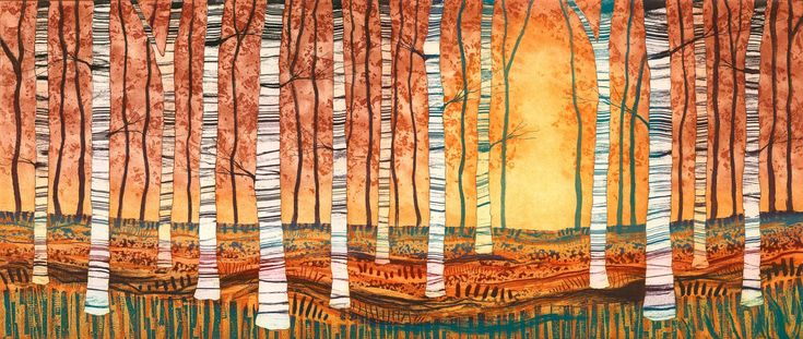 Silver Birch Autumn Gold etching mounted