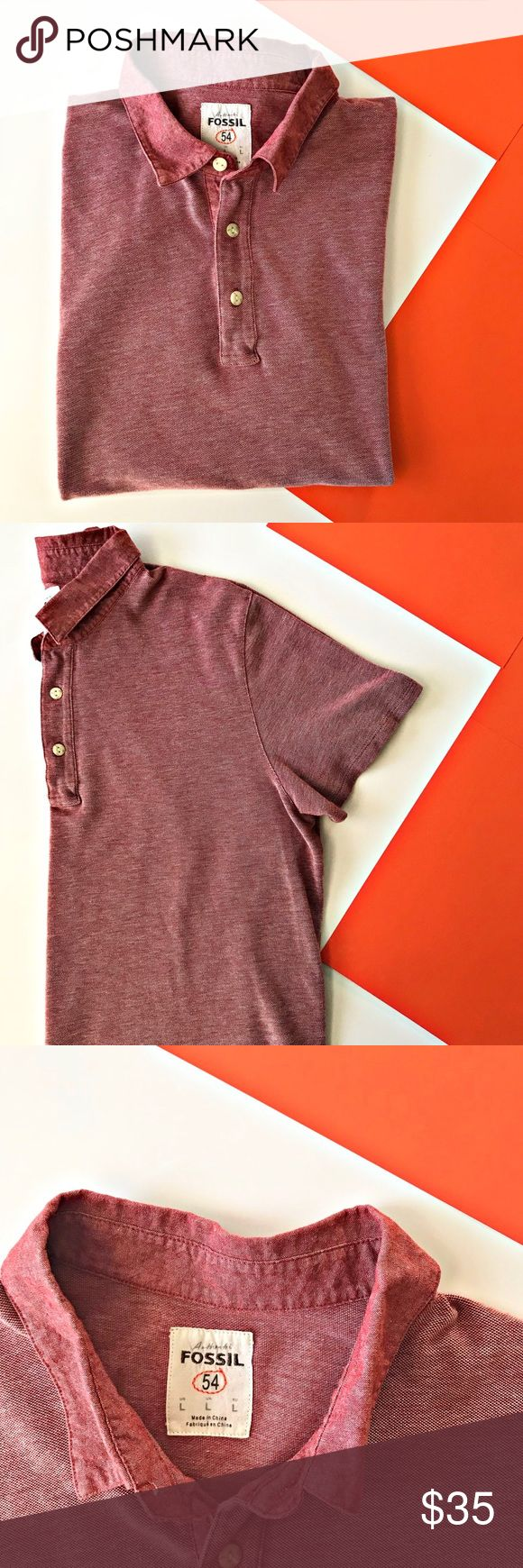 """Fossil Men's Short sleeve polo size L Fossil Men's Red/Orange Short Sleeve Polo Size Large. Excellent condition. Zero stains or rips. Comfy, casual and pretty much NWOT. Fits more on the slim side FYI.  Approximate Measurements:  Pit to Pit Flat: 22"""" Shoulder Seam to sleeve cuff: 8"""" Back of neck to bottom: 26"""" Fossil Shirts Polos"""