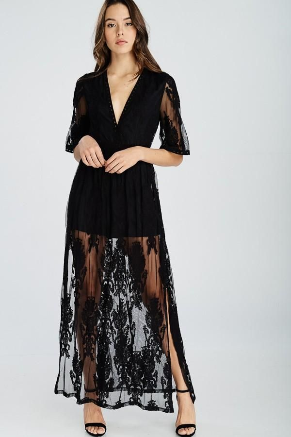 a622ff3fe72 Mallorie Black Lace Overlay Maxi Dress in 2019
