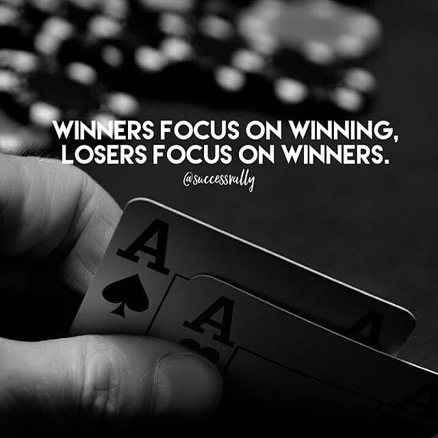 Lots of people focusing on the winner these days. How 'bout focusing on being a winner yourself?