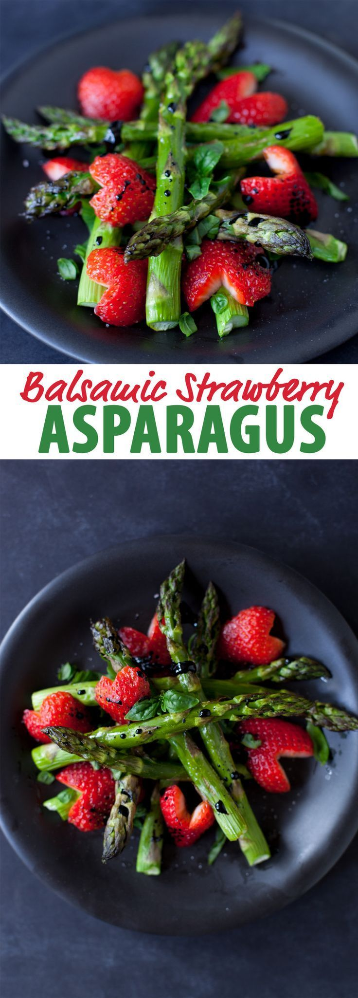 This balsamic strawberry asparagus recipe makes a gorgeous Christmas side dish that's vegan and gluten free. From EatingRichly.com