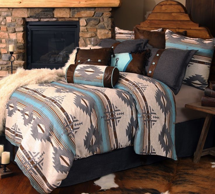 Southwestern bedding at it's finest is shown in our Dakota Blue Bedding. $345-Q Geometric patters & brilliant colors will bring new life to your Southwestern decor