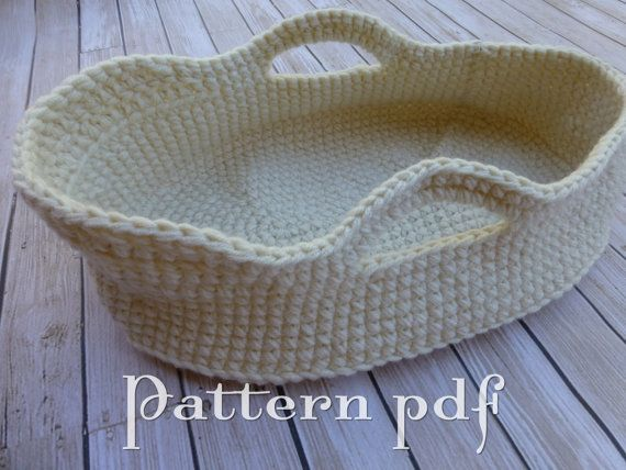 PDF Pattern Crocheted Doll Moses Basket by ChestnutDesigns