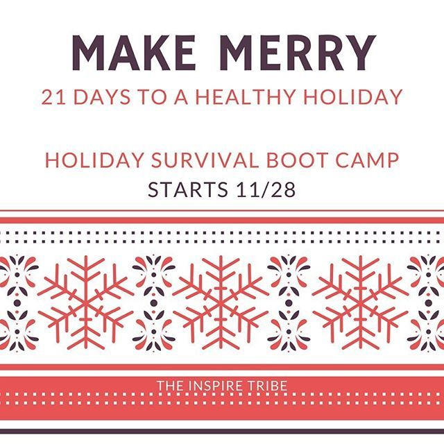 The Holiday Survival Boot Camp fills up every year.... and this year will not be an exception! WHY do you want to join us this year?  CAMARADERIE! Like-minded women sharing goals & inspiring one another in a private group setting of ALL exercise levels and abilities.  EDUCATION! Clean eating recipes and tips & tricks to keep you motivated and on track.  FUN! Challenges, holiday games, and workouts that are as entertaining as they are effective!  You're worth it... so come join us! We start…