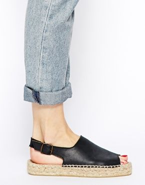 Bertie Jasmine Black Leather Espadrille Flat Sandals on asos.com