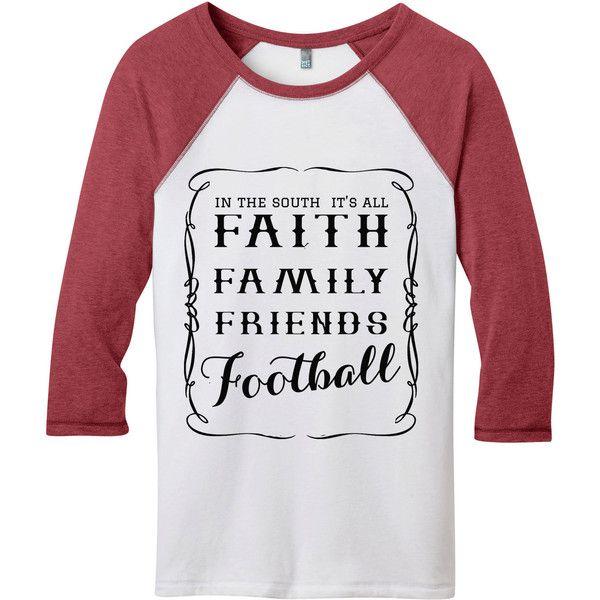 Alabama Football Shirts Georgia Bulldog Shirts Faith Football Raglan... ($29) ❤ liked on Polyvore featuring black, tops and women's clothing