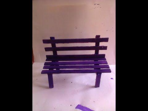 Mini banco de praça de palitos de picolé - YouTube