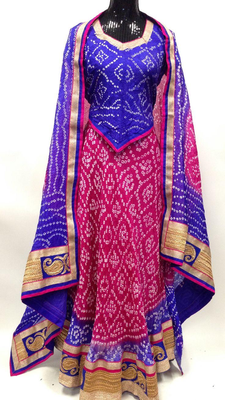 Bandhani silk Lehengha-Pink Blue