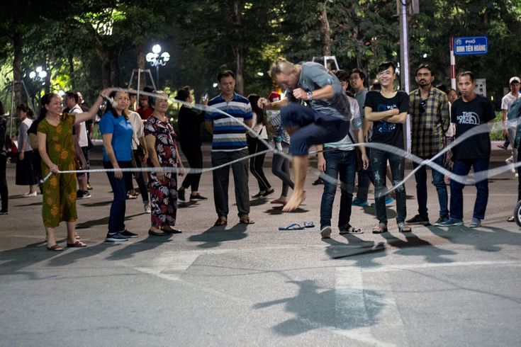 A pedestrian street in Hanoi makes way for skipping rope and more as the night plays on. #gosquab #travel #vietnam #hanoi #skippingrope