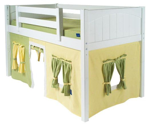 Kids low loft bed curtain in 100 cotton for Children s furnishing fabrics