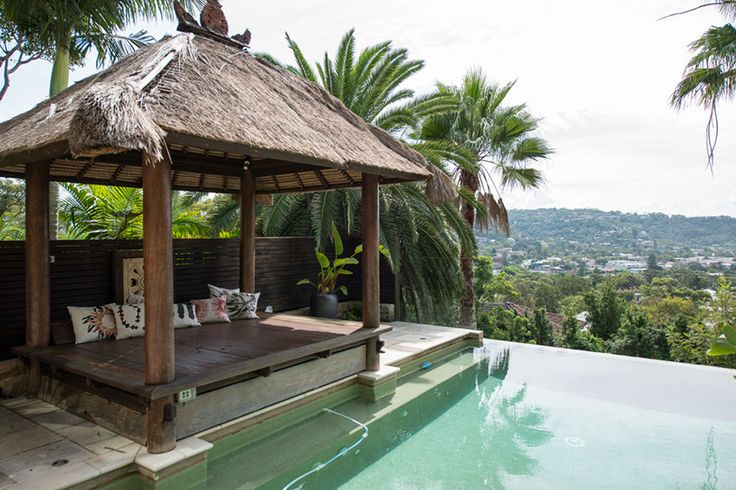 This gorgeous Balinese gazebo makes this pool area feel like a resort every day of the year | At home with Kristy | Home Ideas magazine