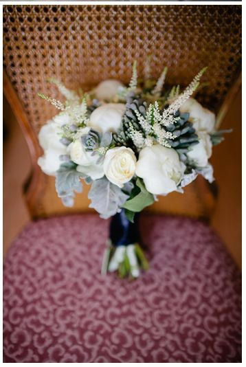 Grey & Navy - white garden roses, peonies, ranuncula, astilbe, dusty miller and succulents