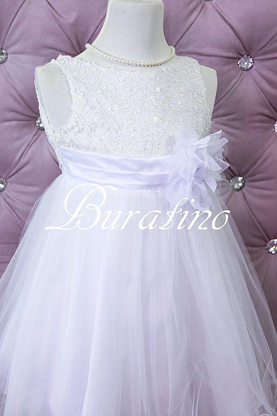 White Flower Girl Dress communion dress by BURATINOBOUTIQUE