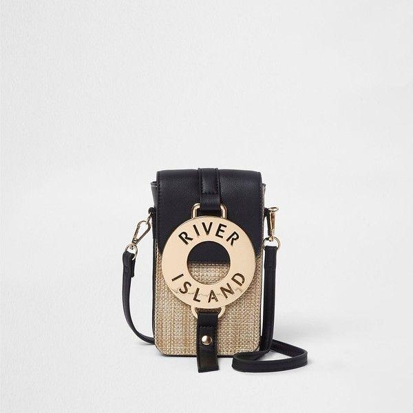 River Island Black woven hoop front mini cross body bag (750 MXN) ❤ liked on Polyvore featuring bags, handbags, shoulder bags, bags / purses, black, cross body bags, women, handbags shoulder bags, man bag and cross-body handbag