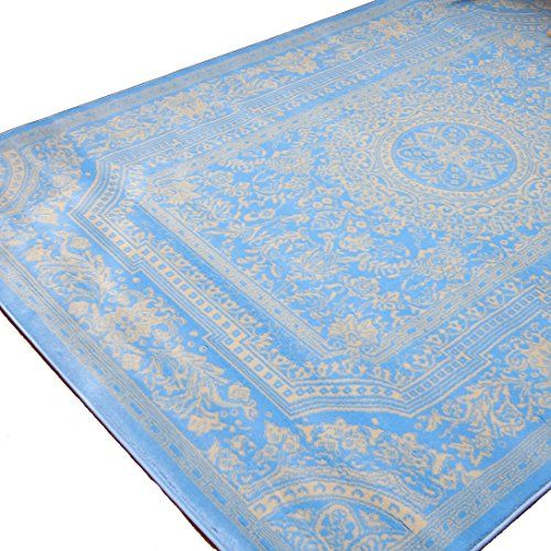 Feraghan New City Traditional French Fl Wool Persian Area Rug X Electric Light Blue