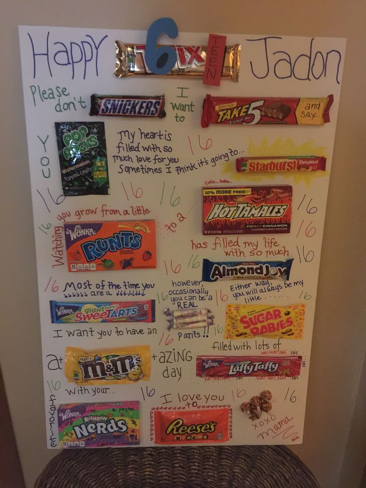 Here is a candy gram birthday card I made for my son's 16th birthday. He turned 16 on Feb 16 & I included 16 different types of candies. He thought it was the coolest thing ever.