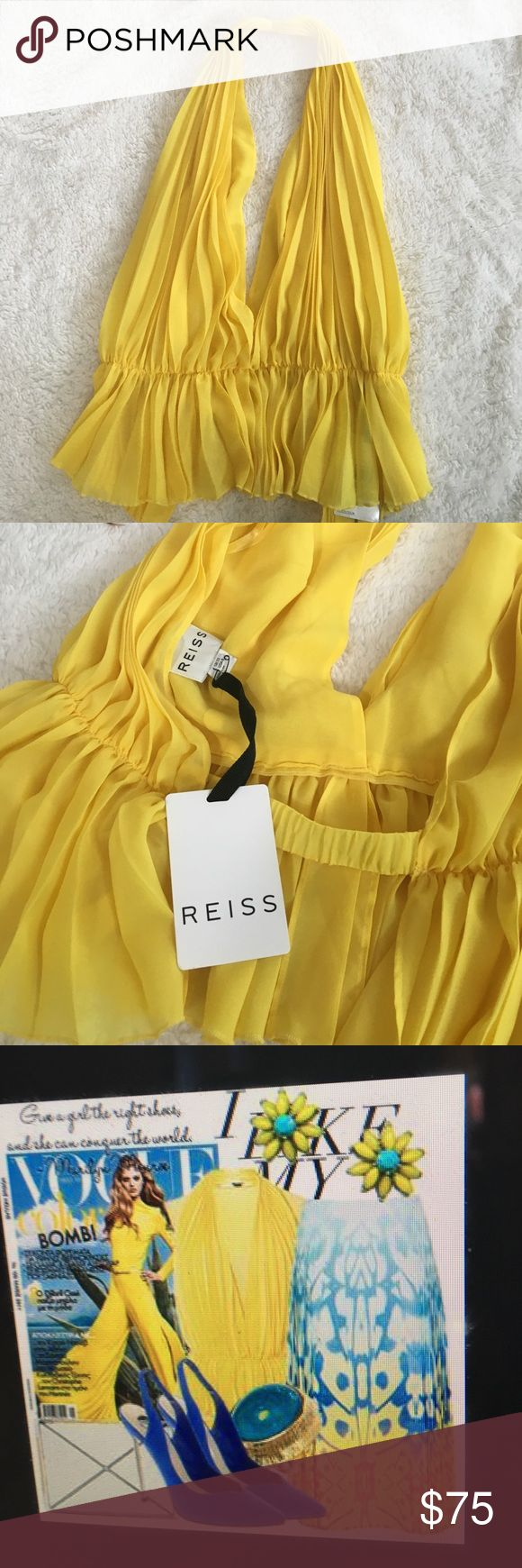Reiss Esmeralda sexy halter top Reiss halter top , in a bold shade of sunshine yellow, in sheer multi layered pleats with a deep v front, it has a camisole base and a nipped waist which flares at the hips to an amazing peplum hem, style secure at the bottom of the back with a simple hook and eye fastening.  Brand-new with tags's retails for $150. Reiss Tops