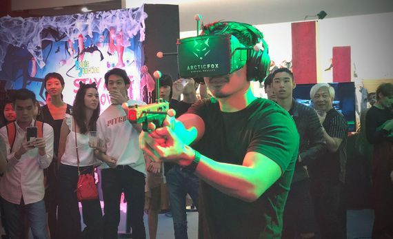 A wireless headset let me shoot zombies in a mall in VR Using VRstudio's new wireless VR headset, a shopping mall called Bugis+ in the island state is letting customers shoot zombies in VR as part of its Halloween event. I got a chance to take part in the action. While you still have to wear a headset ... #vrhalloween