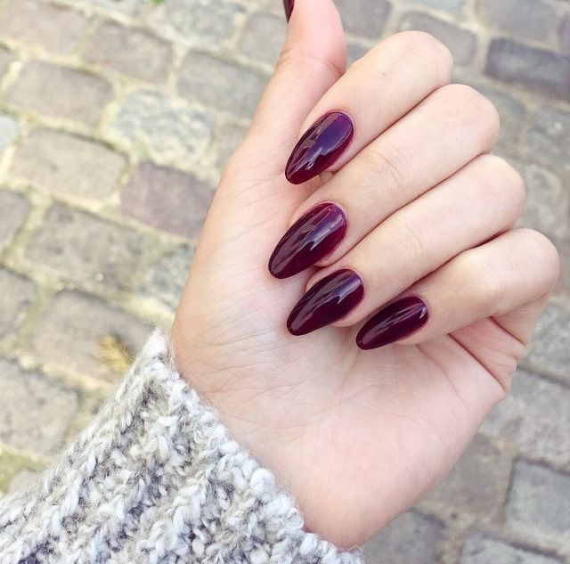 Oval Acrylic Nails - Dark Berry Colour #acrylics #nails
