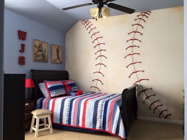 Baseball room bedding pottery barn decor hobby lobby for Baseball bedroom ideas