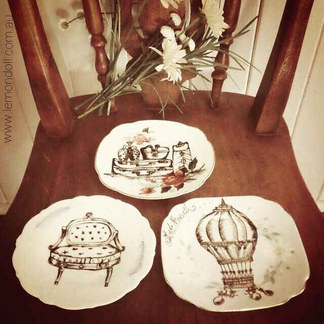 I have handrawn each image on these 3 cute little vintage plates. Featuring 1x Hot Air Balloon,  1xLouis Chair,  1x Vintage Suitcases.  All plates have been baked to preserve the longevity  of the artwork. Beautiful displayed on a wall,  next to a vase of  or even on your dressing table :) they will be available tomorrow at @indie_made_aus in Sandgate .. Ciao for now,  sleep tight x #drawing #art #vintage #vintagedrawing #sketch #sandgate #louischair #hotairballoon #lemondollartstudio…