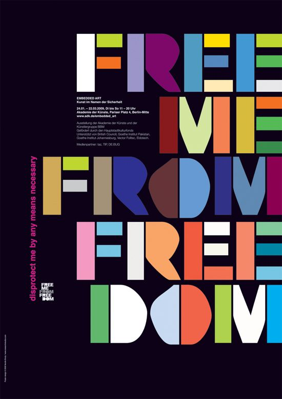 free me from freedom, flyposter by Neville Brody/Research Studios, 2008