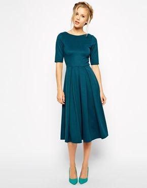 1930s dresses fashion Closet Midi Skater Dress in Scuba - Bottle green