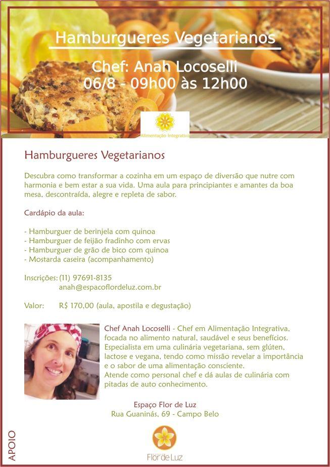 Alimentação Integrativa - Receitas para Viver Bem: AULA DE CULINÁRIA - HAMBURGUERES VEGETARIANOS