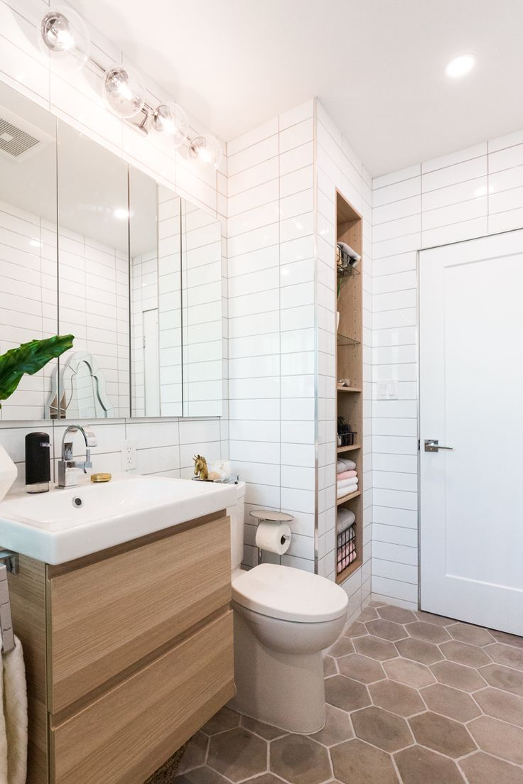 #SabrinasBathroom: Modern Bathroom Renovation- cement tile, wood accents, and elongated subway, IKEA built-in – Sabrina Smelko