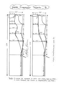 Esquema de Modelagem de Vestido que afina a Silhueta 2 tamanho 46.