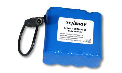 Image of AT: Tenergy Li-Ion 18650 14.8V 4400mAh PCB Protected Rechargeable Battery w/ DC Connector