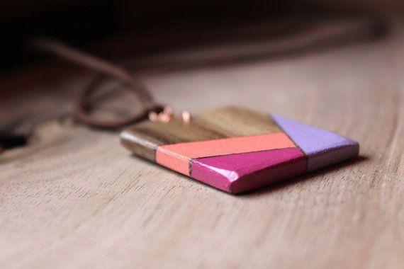 collana di legno legno pendente Collana geometrica di BottegaAmet