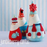 Jumbleberry Santas Pattern  CODE: JumbleberrySantas Three decorative santas patterns made from felt and available through Busy Thimbles.