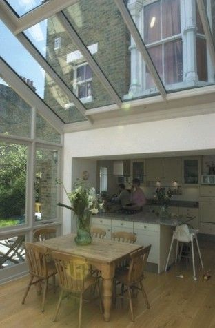 Timber frame kitchen extension with gable end