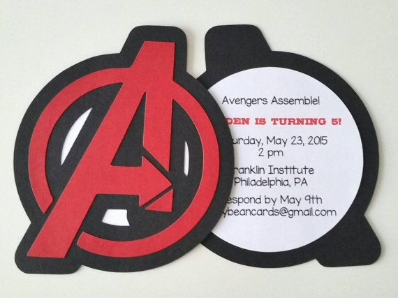 He encontrado este interesante anuncio de Etsy en https://www.etsy.com/es/listing/199232548/avengers-party-invitation-pack-of-10