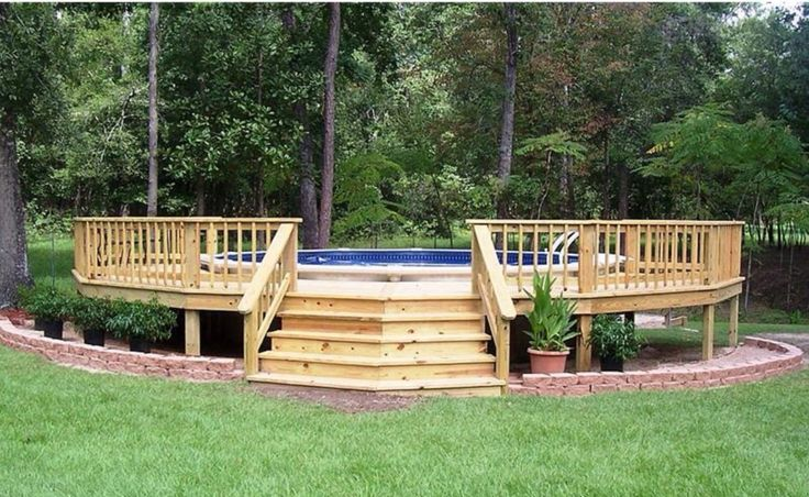 Above ground pool deck idea someday pinterest ground for Above ground pool decks photos