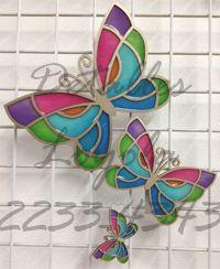 juego de mariposas para imitación vitral - Detalles Loyola