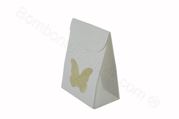 Scatolina bustina bianca cartoncino con cuore per fai da te bomboniera