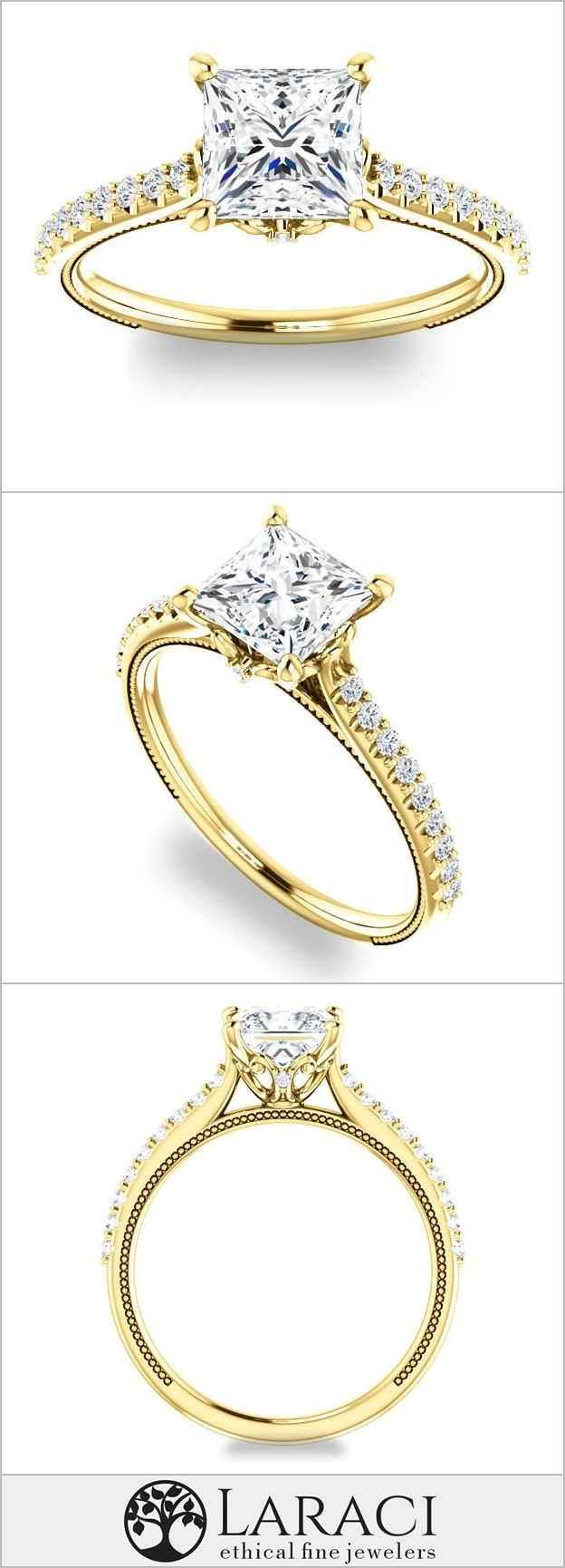 Moissanite 1.3ct (6mm) Princess NEO Colorless set into a 14k Yellow Gold Engagement Ring with Brilliant Round Accents