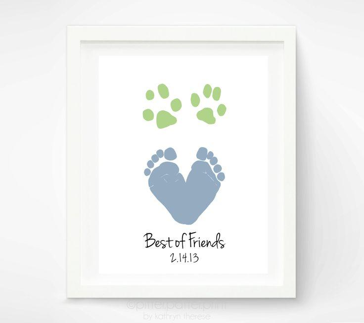 Baby Footprint Dog Paw Art Print