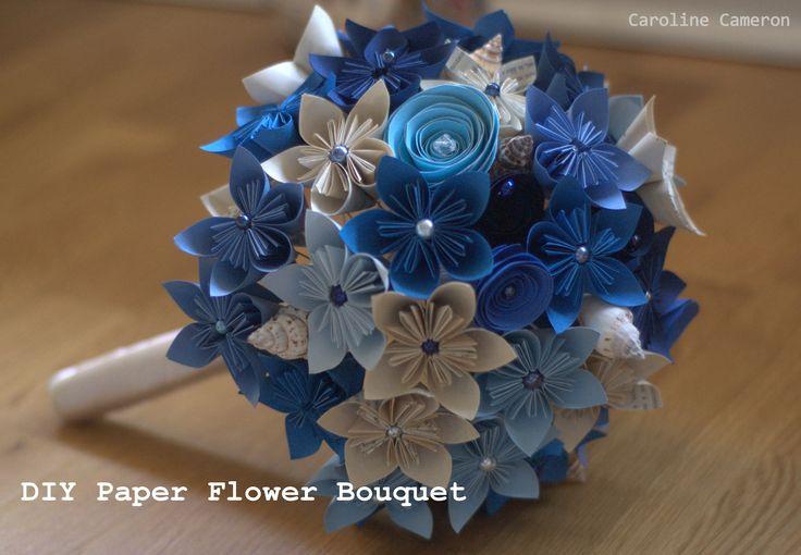 DIY Kusudama paper flower bouquet, beach bouquet, handmade paper flower bouquet