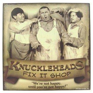 Three Stooges Fix It Shop Tin Sign